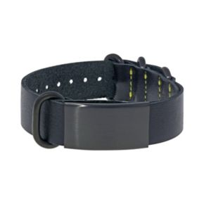 LYNX Leather and Black Ion-Plated Stainless Steel ID Bracelet - Men