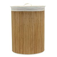 Household Essentials Oval Bamboo Laundry Hamper