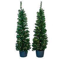 Kurt Adler 5-ft. Pre-Lit 2-pc. Potted Artificial Christmas Tree Set - Indoor & Outdoor