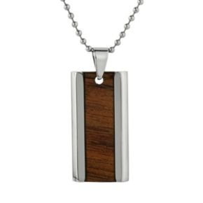 LYNX Stainless Steel and Wood Dog Tag Necklace - Men