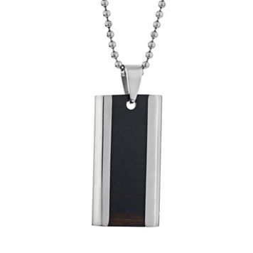 LYNX Stainless Steel Wood & Dog Tag Necklace - Men