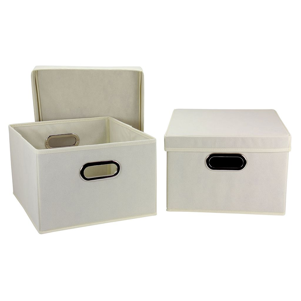 Household Essentials 2-pk. Black Handle Collapsible Storage Bins