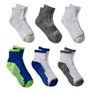 Boys GOLDTOE 6 pkUltra Tec Quarter-Crew Socks