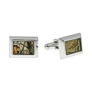 Stainless Steel Camouflage Rectangle Cuff Links