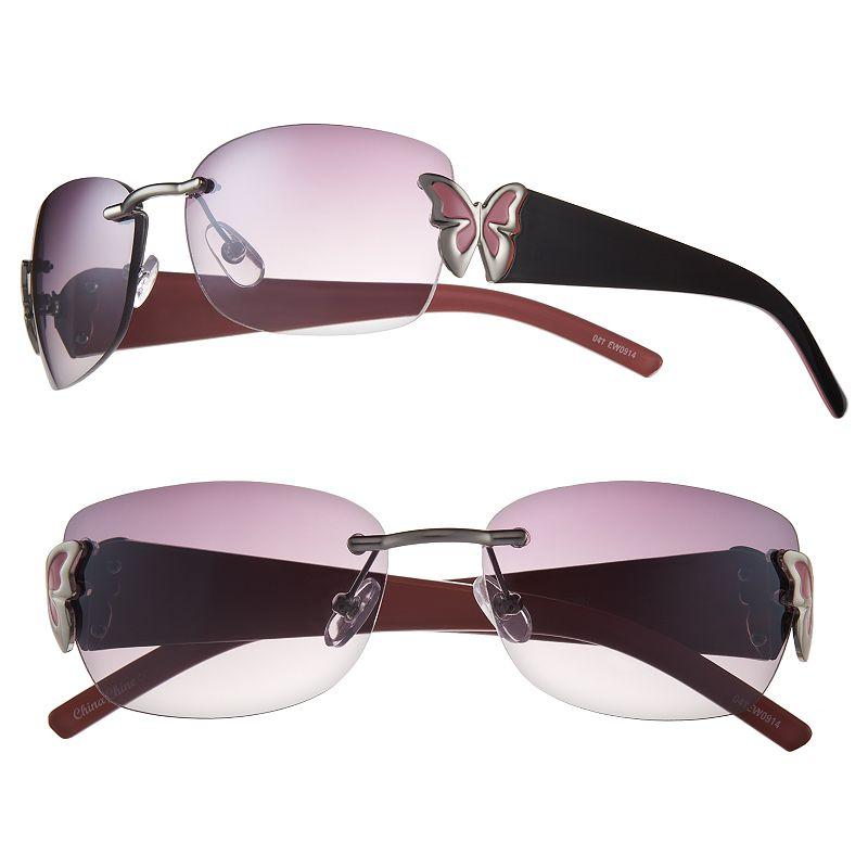 Rimless Butterfly Glasses : Womens Rimless Sunglasses Kohls
