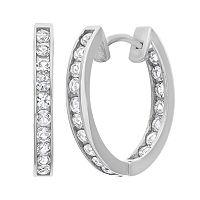 Lab-Created White Sapphire 10k White Gold Hoop Earrings