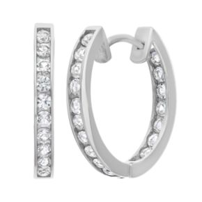 Lab-Created White Sapphire 10k White Gold Hoop Earrings