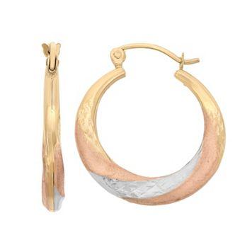 14k Gold Tri-Tone Textured Hoop Earrings