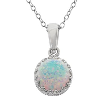 Tiara Lab-Created Opal Sterling Silver Crown Pendant Necklace