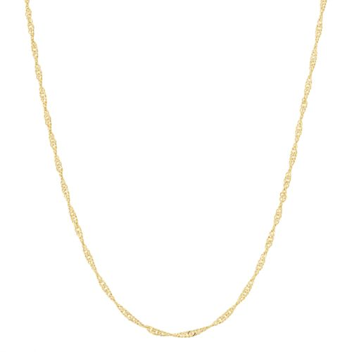 14k Gold Plated Silver Adjustable Singapore Chain Necklace   22 In. by Kohl's