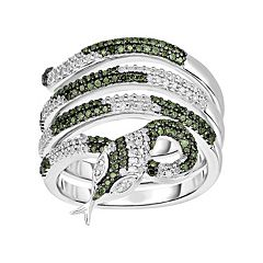 3/4 Carat T.W. Green & White Diamond Sterling Silver Multirow Snake Ring
