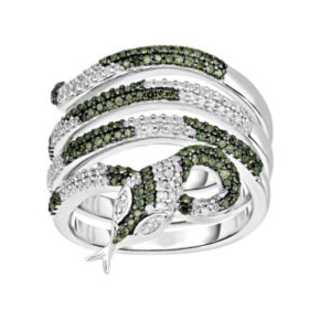 3/4 Carat T.W. Green and White Diamond Sterling Silver Multirow Snake Ring
