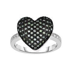 Sterling Silver 1/5 Carat T.W. Green & White Diamond Heart Ring