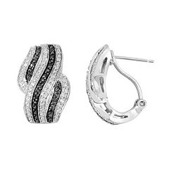 1/3 Carat T.W. Black & White Diamond Sterling Silver Wave Drop Earrings