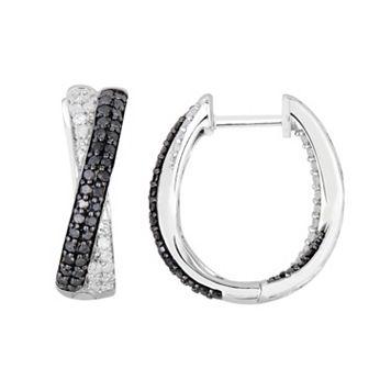 1 Carat T.W. Black & White Diamond Sterling Silver Crisscross U-Hoop Earrings