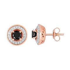 1 Carat T.W. Black & White Diamond Rose Gold Tone Over Silver & Sterling Silver Halo Stud Earrings