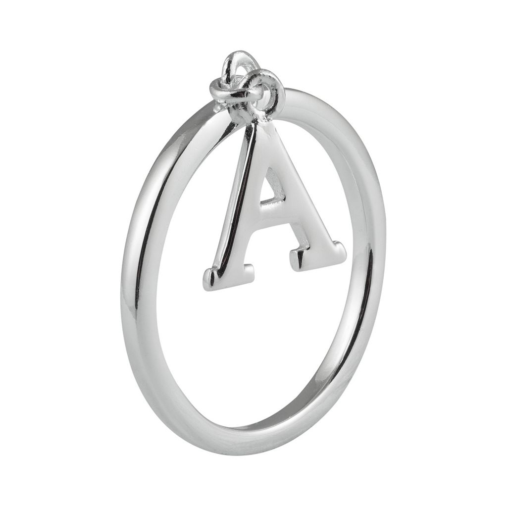 Sterling Silver Dangle Initial Ring