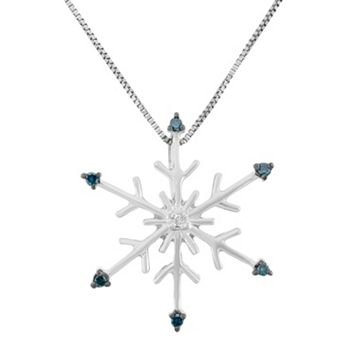 Blue & White Diamond Accent Sterling Silver Snowflake Pendant Necklace