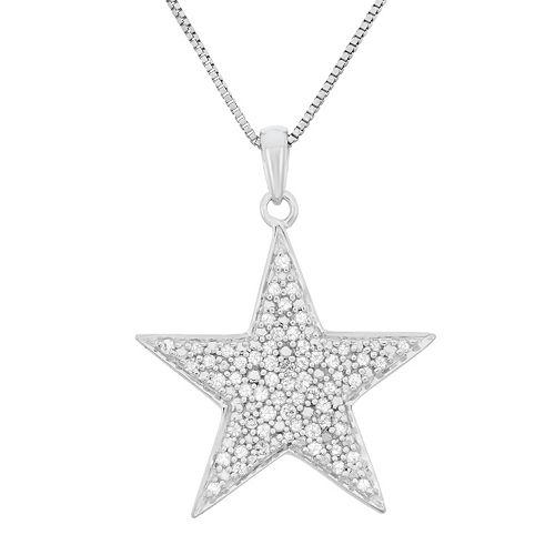 14 carat tw diamond sterling silver star pendant necklace aloadofball Images