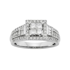 Diamond Tiered Square Halo Engagement Ring in 10k White Gold (1 Carat T.W.)