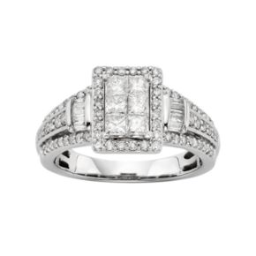 Diamond Tiered Rectangle Halo Engagement Ring in 10k White Gold (1 Carat T.W.)