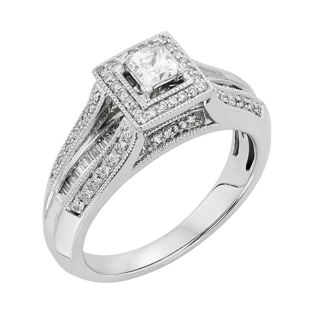 Diamond Tiered Square Halo Engagement Ring in 10k White Gold (1/2 Carat T.W.)