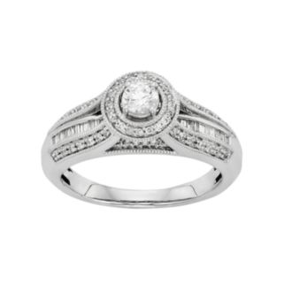 Diamond Tiered Halo Engagement Ring in 10k White Gold (1/2 Carat T.W.)