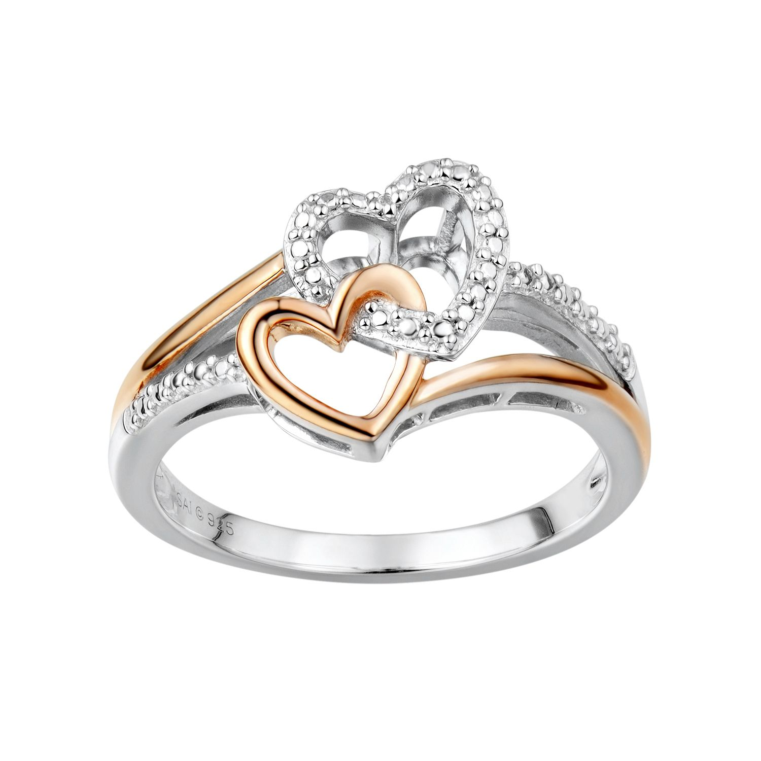 Two Hearts Forever One Diamond Accent Sterling Silver Two Tone