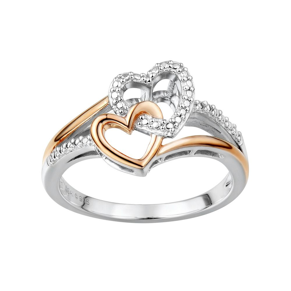 Two Hearts Forever One Diamond Accent Sterling Silver Two Tone Double Heart  Ring
