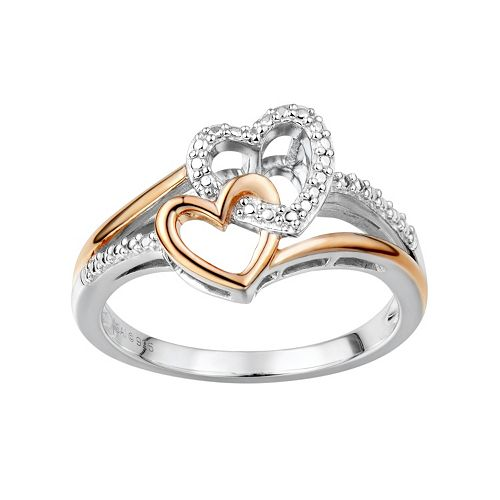 Two Hearts Forever One Diamond Accent Sterling Silver Two