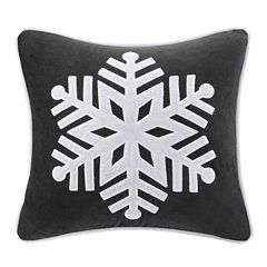 Madison Park 20'' x 20'' Velvet Snowflake Throw Pillow
