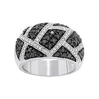 1 Carat T.W. Black & White Diamond Sterling Silver Geometric Ring