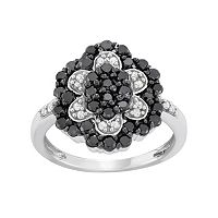 1 Carat T.W. Black & White Diamond Sterling Silver Flower Ring