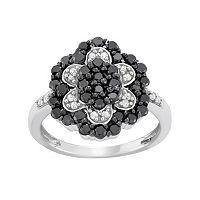 1 Carat T.W. Black & White Diamond Sterling Silver Flower Ring