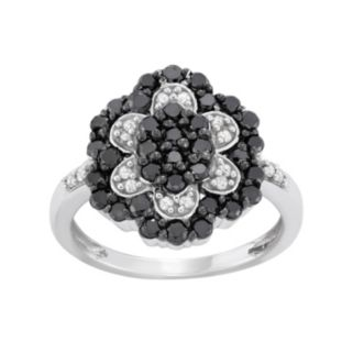 1 Carat T.W. Black and White Diamond Sterling Silver Flower Ring