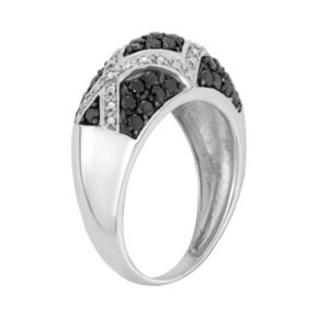 1 Carat T.W. Black and White Diamond Sterling Silver Geometric Ring