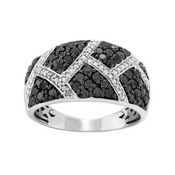1 Carat T.W. Black & White Diamond Sterling Silver Geometric Ring