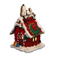 Kurt Adler Lighted Snoopy Gingerbread Christmas House Decor