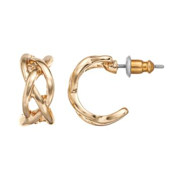 Napier Crisscross C-Hoop Earrings
