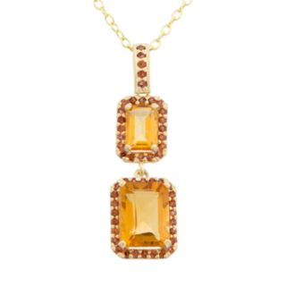 Citrine and Garnet 14k Gold Over Silver Halo Drop Pendant Necklace