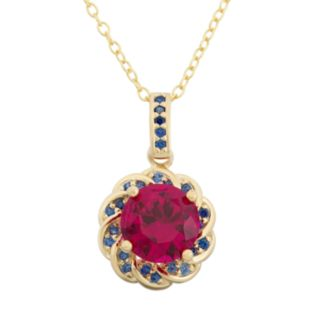 Lab-Created Ruby and Lab-Created Blue Sapphire 14k Gold Over Silver Flower Pendant Necklace
