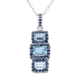 Lab-Created Aquamarine and Lab-Created Blue Sapphire Sterling Silver 3-Stone Halo Pendant Necklace