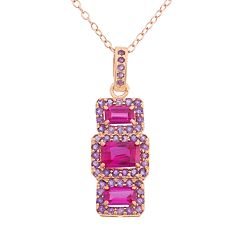 Lab-Created Ruby & Amethyst 14k Rose Gold Over Silver 3-Stone Halo Pendant Necklace