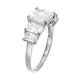 Cubic Zirconia 10k White Gold 5-Stone Ring