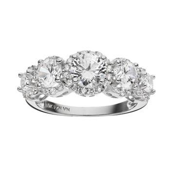 Cubic Zirconia 10k White Gold 5-Stone Halo Ring