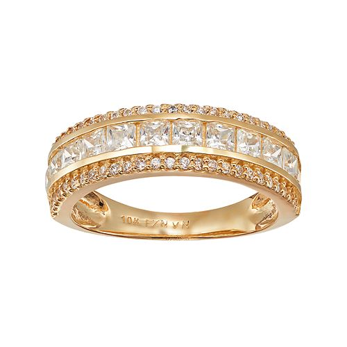Cubic Zirconia 10k Gold 3-Row Ring