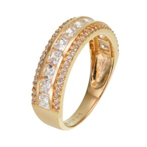 Cubic Zirconia 10k Gold 3-Row Ring