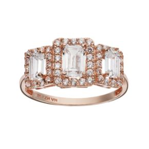 Cubic Zirconia 10k Rose Gold Tiered Rectangle Ring