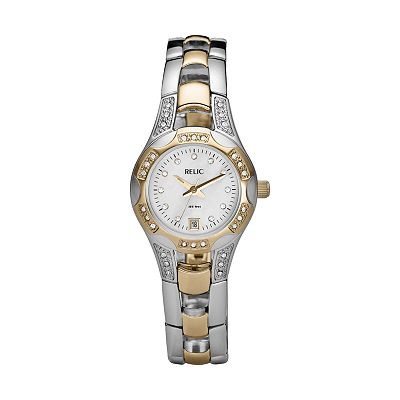 Relic Two Tone Crystal and Mother-of-Pearl Watch - ZR11761 - Women
