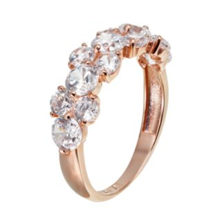 Cubic Zirconia 10k Rose Gold Cluster Ring